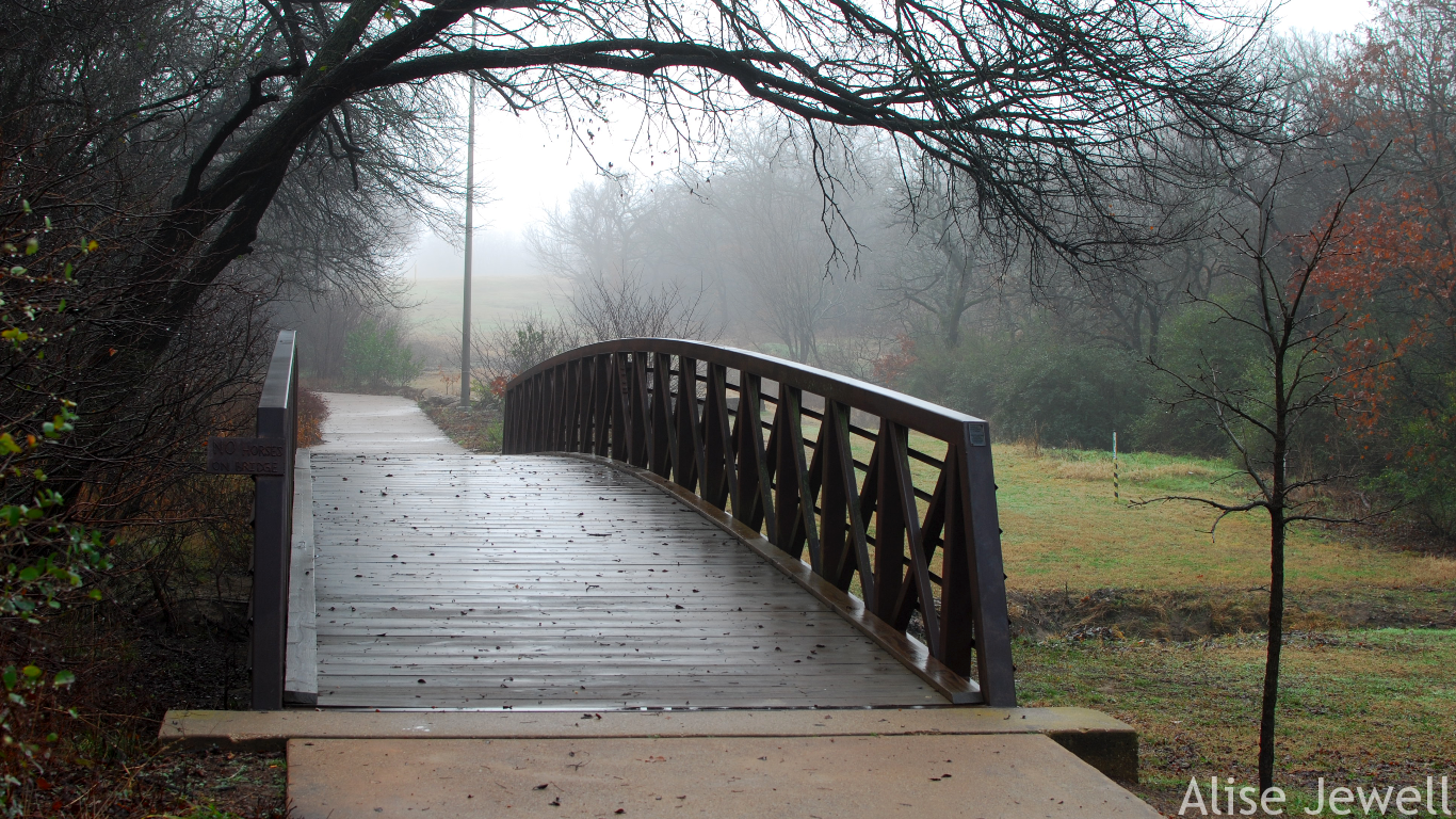 foggy bridge at veterans park
