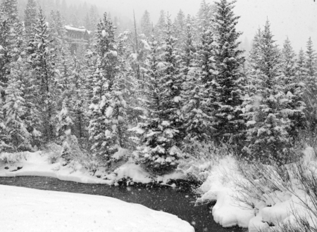 Black and White Snowfall at Keystone